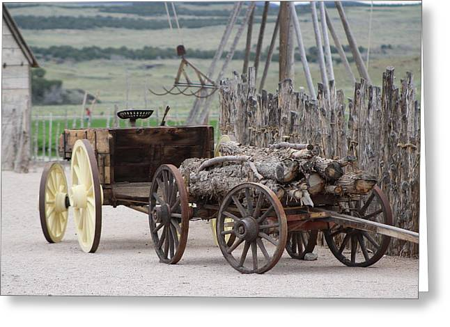 Old Tractor And Wagon In Foreground Cove Creek Fort Photography By Colleen Greeting Card