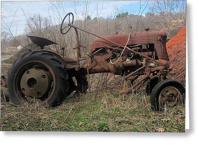 Old Tractor-clarks Farm Greeting Card by Paul Meinerth