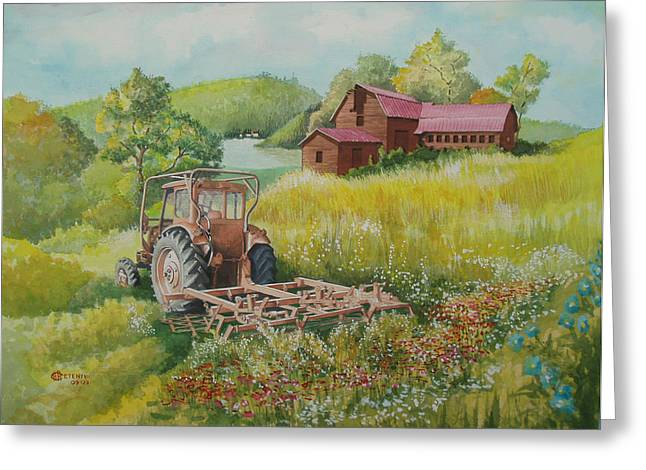 Old Tractor In Hungary Galgaguta Greeting Card by Charles Hetenyi