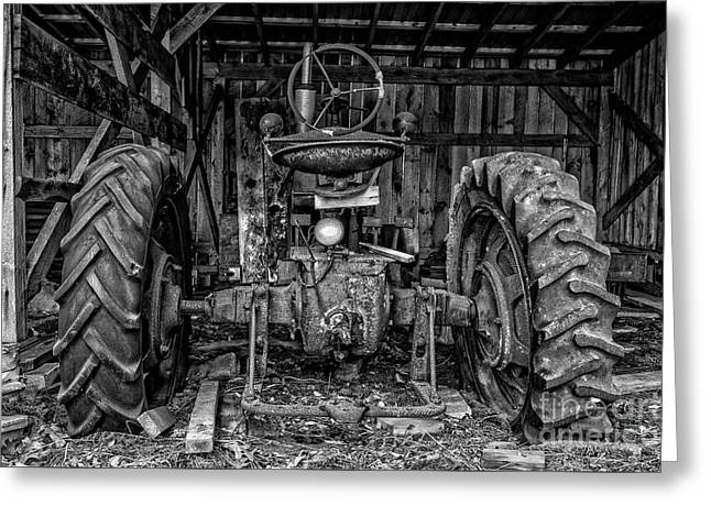Old Tractor In The Barn Black And White Greeting Card