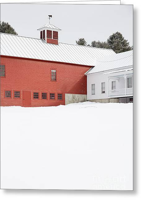 Old Traditional New England Farm In Winter Greeting Card by Edward Fielding