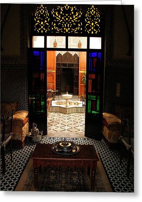 Old Traditional Riad In Fez Greeting Card by Ralph A  Ledergerber-Photography