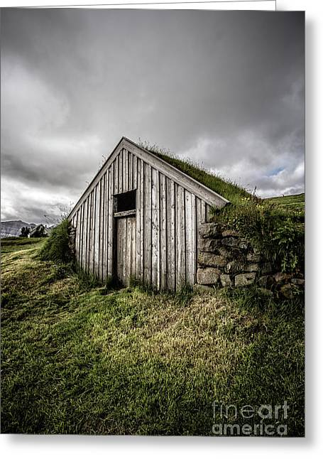Old Traditional Sod Barn Iceland Greeting Card