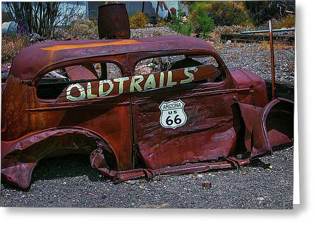 Old Trails Rusty Car Route 66 Greeting Card
