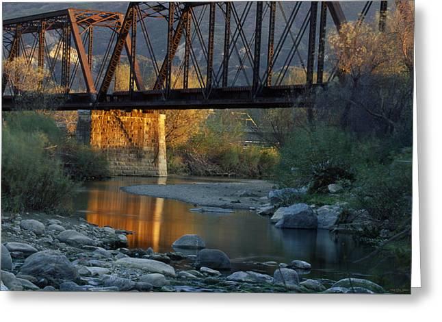 Old Train Bridge - Piru California Greeting Card