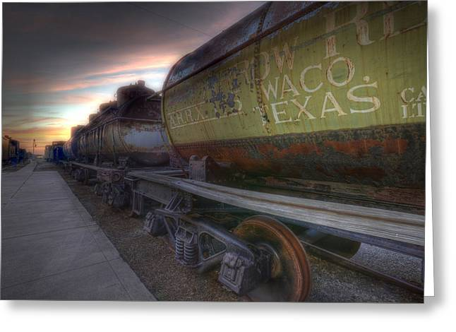 Greeting Card featuring the tapestry - textile Old Train - Galveston, Tx 2 by Kathy Adams Clark