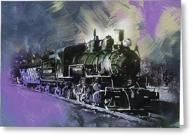 Old Train On Track  Greeting Card by Gull G