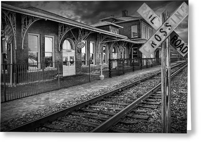 Old Train Station With Crossing Sign In Black And White Greeting Card