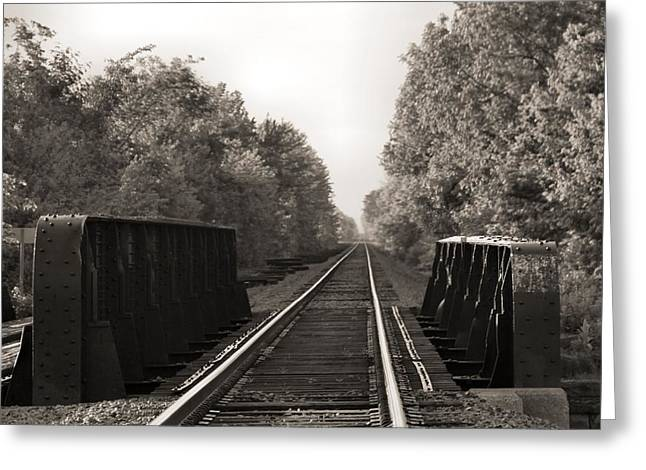 Old Train Tracks On Bridge Greeting Card