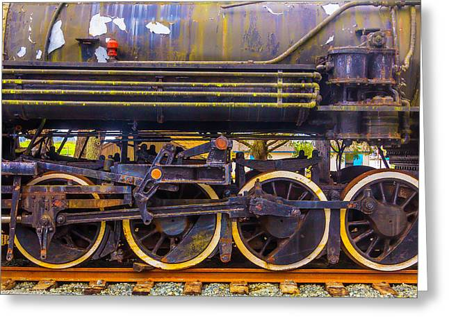 Old Train Wheels Greeting Card by Garry Gay
