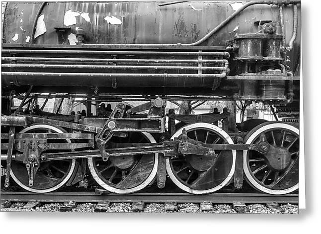 Old Train Wheels In Black And White Greeting Card by Garry Gay