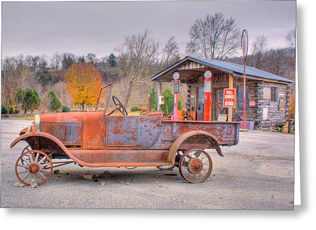 Old Truck And Gas Filling Station Greeting Card by Douglas Barnett