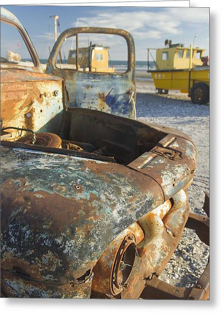 Old Truck In The Beach Greeting Card by Silvia Bruno