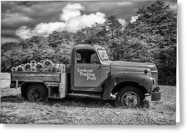 Old Truck On The Farm Black And White Greeting Card