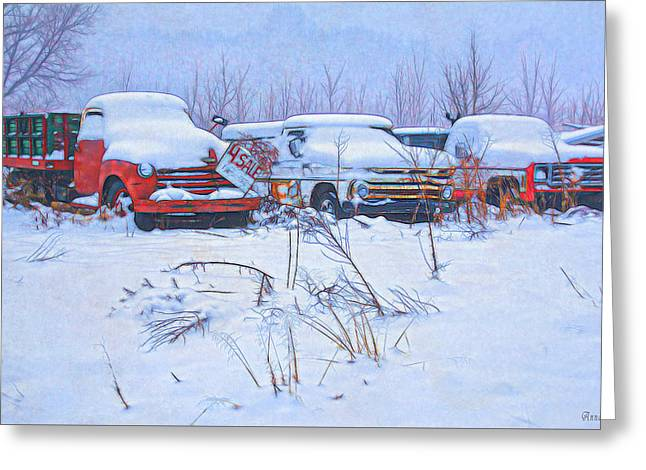 Old Trucks In Snow Greeting Card