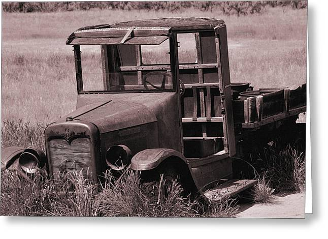 Greeting Card featuring the photograph Old Truck In Sepia by Kae Cheatham