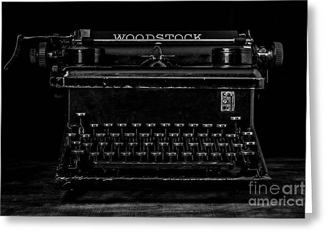 Old Typewriter Black And White Low Key Fine Art Photography Greeting Card
