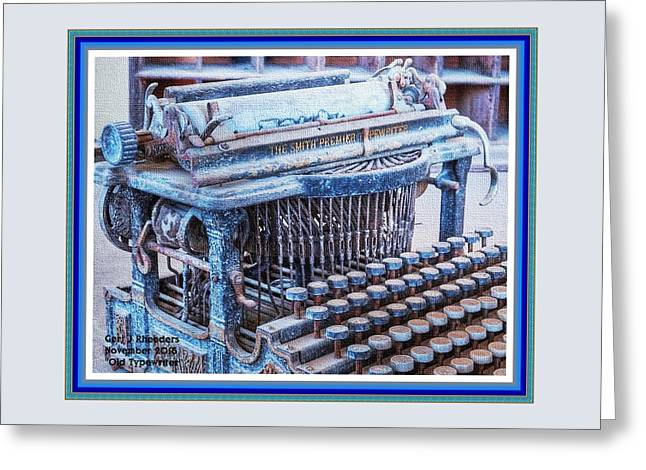 Old Typewriter H A With Decorative Ornate Printed Frame. Greeting Card by Gert J Rheeders