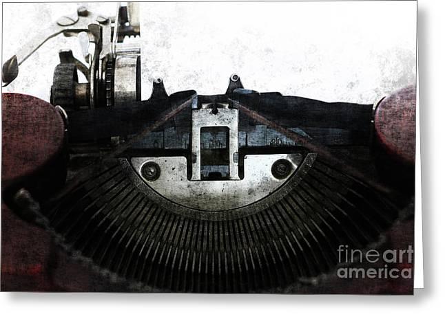 Old Typewriter Machine In Grunge Style Greeting Card by Michal Boubin