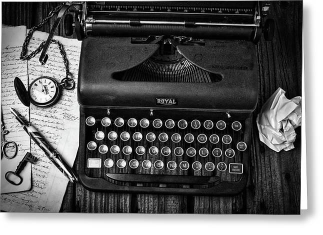 Old Typewriter With Letters Greeting Card by Garry Gay