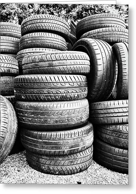 Old Vehicle Tyres Greeting Card by Tom Gowanlock