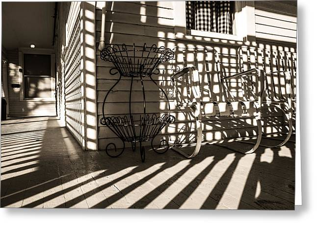 Old Victorian Porch In Sunlight And Shadow Greeting Card by Scott Hales