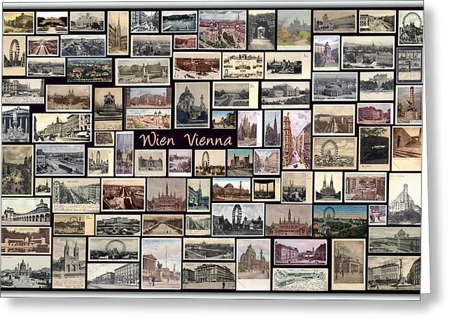 Old Vienna Collage Greeting Card by Janos Kovac