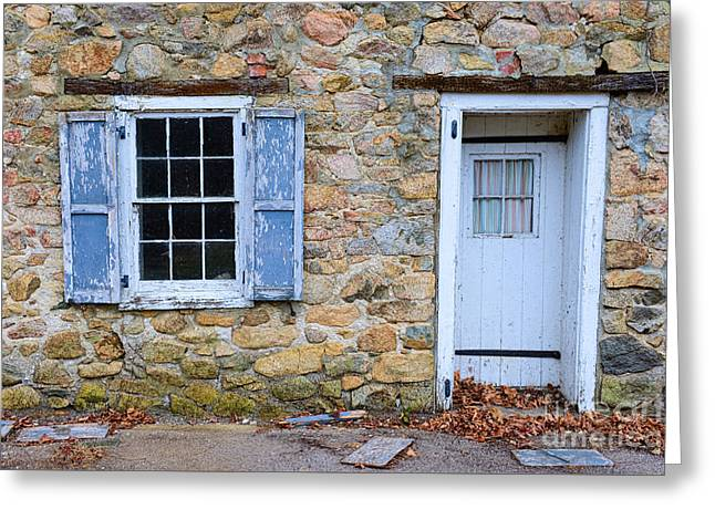Old Village Door And Window With Blue Shutters Greeting Card by Paul Ward