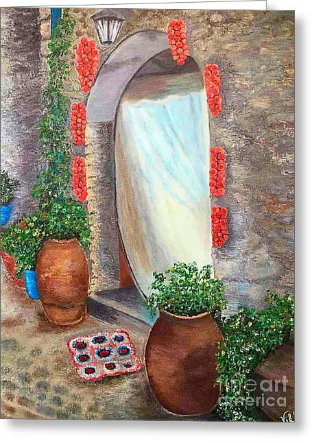 Old Village In Chios Greece  Greeting Card