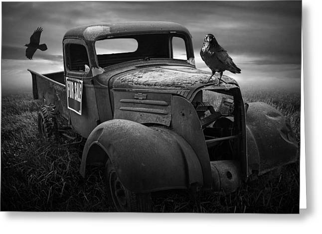 Old Vintage Chevy Pickup Truck With Ravens Greeting Card