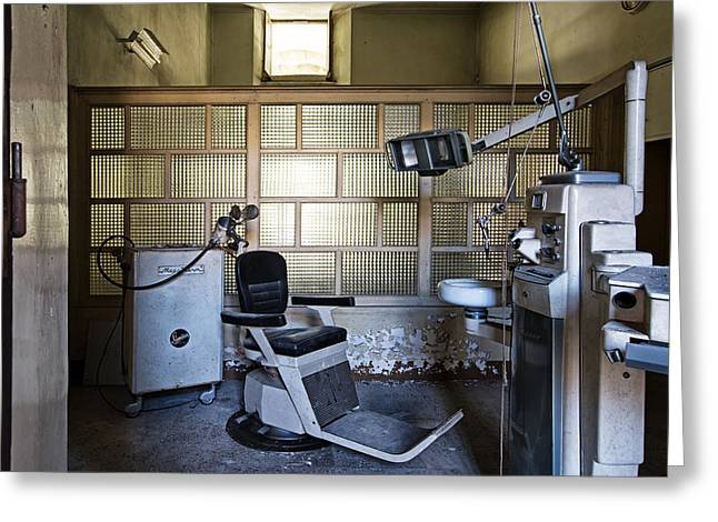Old Vintage Dentist Chair In Abandoned Building Greeting Card by Dirk Ercken