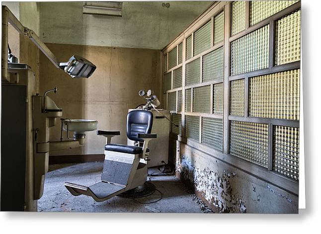 Old Vintage Dentist Chair - Urban Exploration Greeting Card by Dirk Ercken