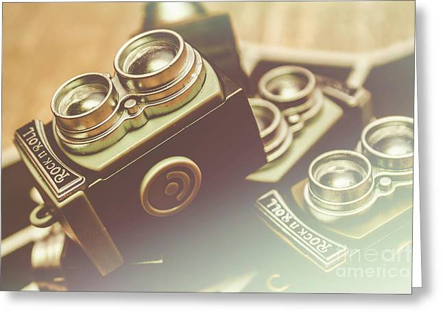 Old Vintage Faded Print Of Camera Equipment Greeting Card by Jorgo Photography - Wall Art Gallery