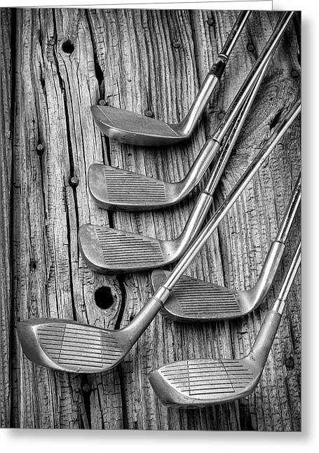 Old Vintage Golf Clubs Greeting Card by Garry Gay
