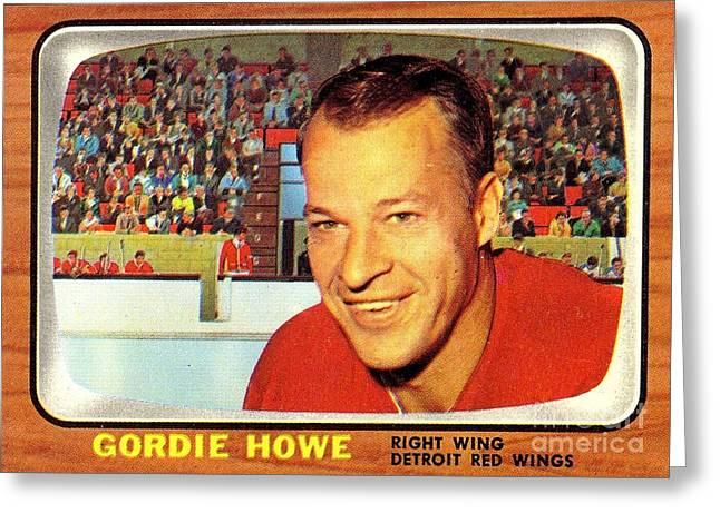 Old Vintage Gordie Howe Hockey Card Collectable Greeting Card by Pd