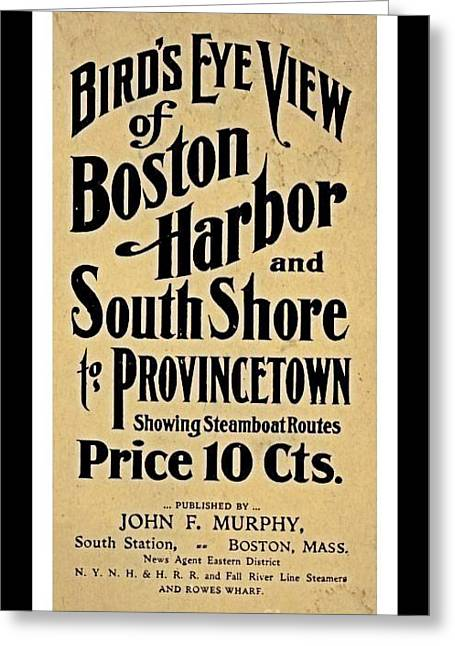 Old Vintage Map Cover For Boston Harbor South Shore Greeting Card by Pd