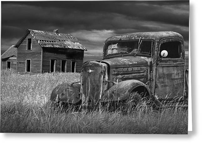 Old Vintage Pickup In Black And White By An Abandoned Farm House Greeting Card