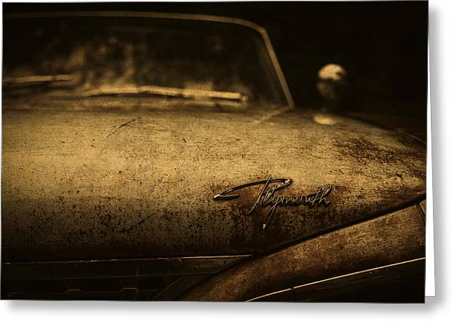Old Vintage Plymouth Car Hood Greeting Card