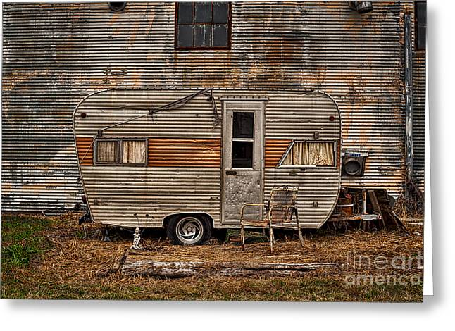 Old Vintage Rv Camper In The Mississippi Delta Greeting Card