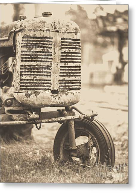 Old Vintage Tractor Brown Toned Greeting Card