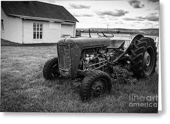 Old Vintage Tractor Iceland Greeting Card