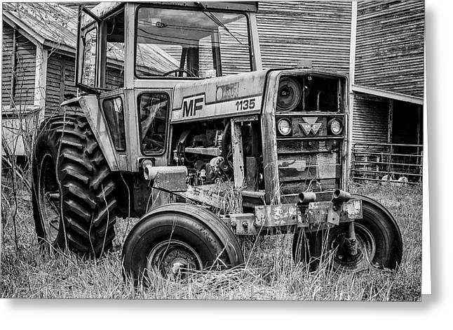 Old Vintage Tractor On A Farm In New Hampshire Square Greeting Card