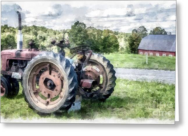 Old Vintage Tractor On The Farm Greeting Card by Edward Fielding