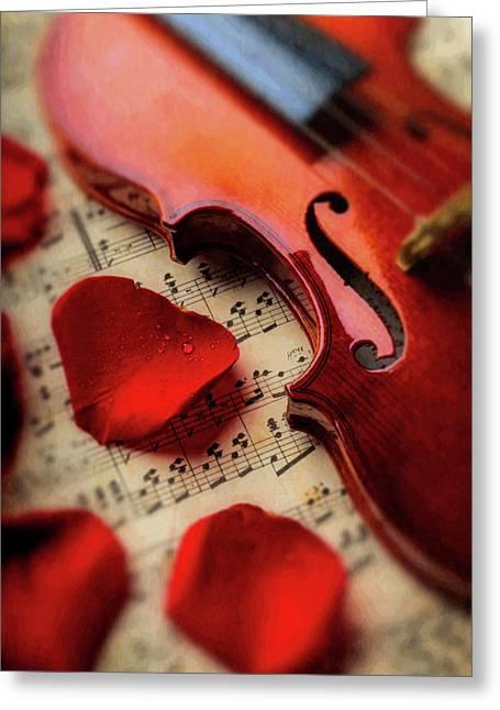 Old Violin And Rose Petals Greeting Card