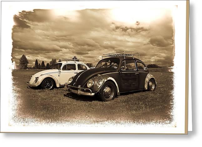 Old Vw Beetles Greeting Card by Steve McKinzie
