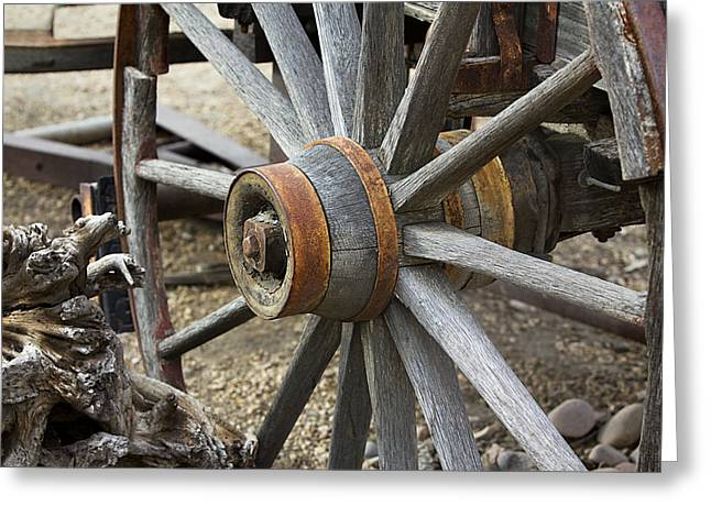 Greeting Card featuring the photograph Old Waagon Wheel by Phyllis Denton