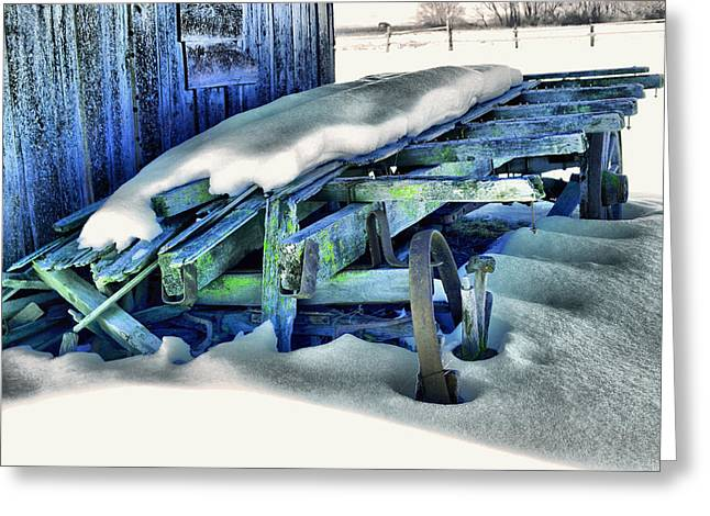 Old Wagan In The Snow Greeting Card by Jeff Swan