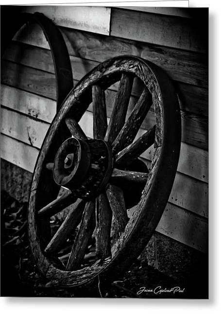 Old Wagon Wheel Greeting Card by Joann Copeland-Paul