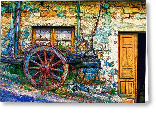 Old Wagon Wheel Greeting Card by Lanjee Chee