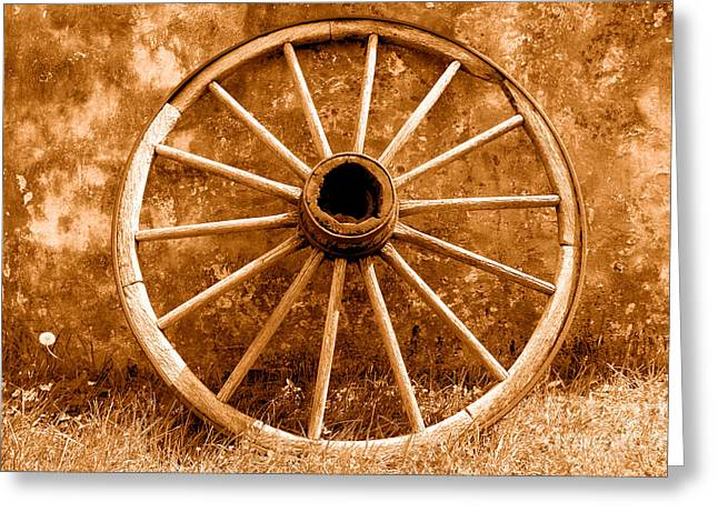 Old Wagon Wheel - Sepia Greeting Card by Olivier Le Queinec